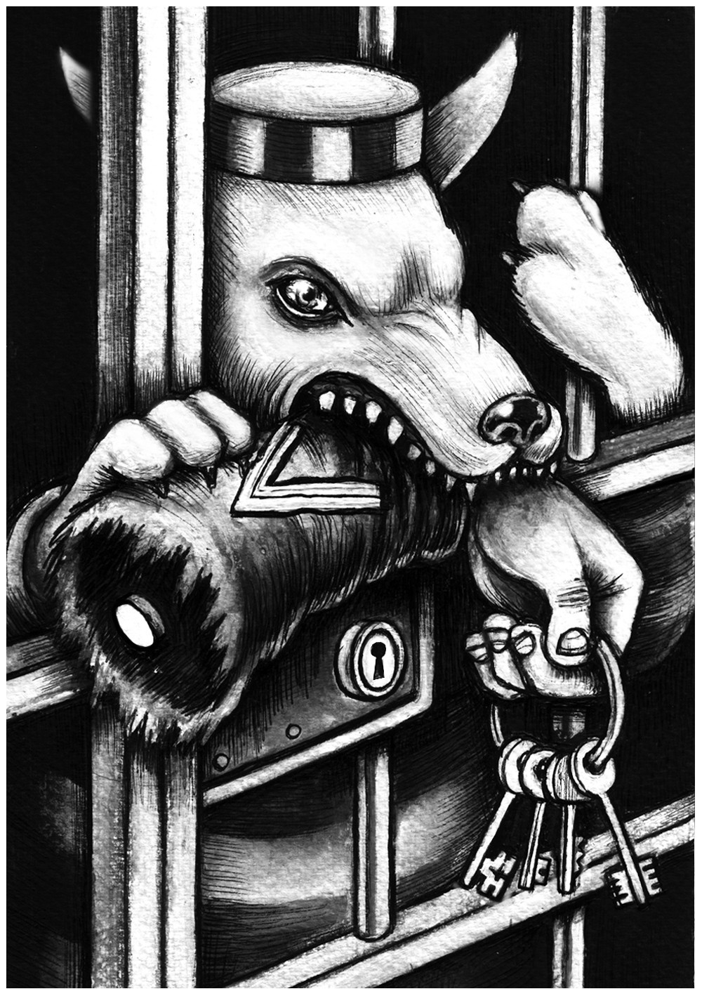 wolf in prison - graficanera - NO COPYRIGHT